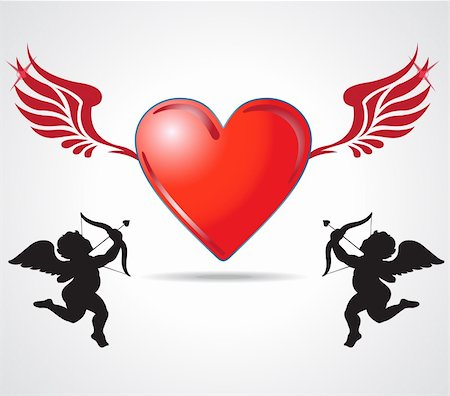 fly heart - two angle kids joining heart Stock Photo - Budget Royalty-Free & Subscription, Code: 400-05710761