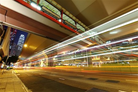 road landscape - car light trails in modern city Stock Photo - Budget Royalty-Free & Subscription, Code: 400-05710840