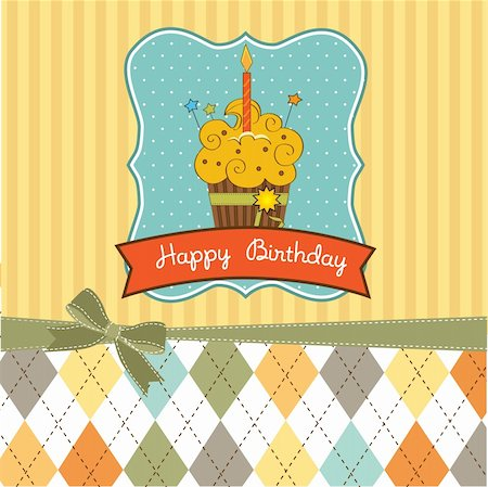 Happy Birthday cupcake Stock Photo - Budget Royalty-Free & Subscription, Code: 400-05711256