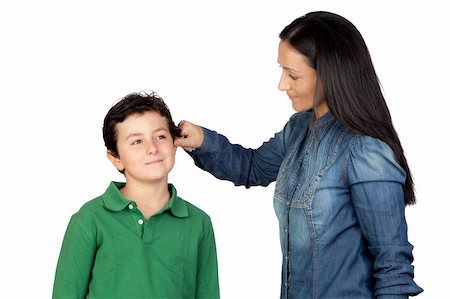 Mother pulling her child's ear for being naughty isolated on white background Stock Photo - Budget Royalty-Free & Subscription, Code: 400-05712091