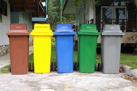 five colors recycle bins in national park, Thailand. Stock Photo - Budget Royalty-Free & Subscription, Code: 400-05712870