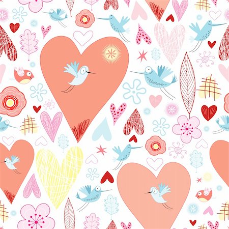 fly heart - seamless pattern of hearts and birds on a white background decorative Stock Photo - Budget Royalty-Free & Subscription, Code: 400-05713090