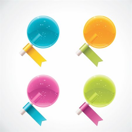 simsearch:400-04344039,k - Set of detailed glossy lollipops with colorful ribbons Stock Photo - Budget Royalty-Free & Subscription, Code: 400-05713424
