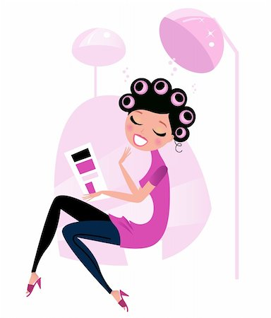 retro beauty salon images - Lady relaxing & reading magazine in Hair Salon Stock Photo - Budget Royalty-Free & Subscription, Code: 400-05713595