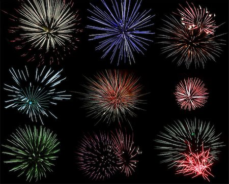 pretty pink star white background - Set of various fireworks in different color and shape Stock Photo - Budget Royalty-Free & Subscription, Code: 400-05713682