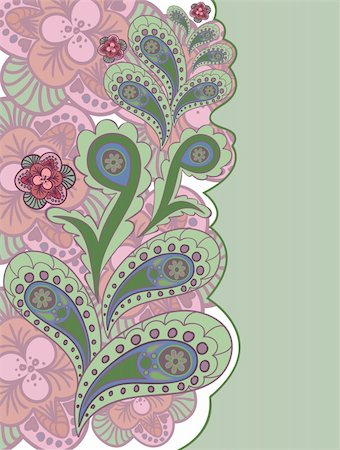 beautiful pink and green background with hand-drawn flowers Stock Photo - Budget Royalty-Free & Subscription, Code: 400-05724118