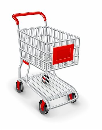 empty shopping cart - empty shopping cart vector illustration isolated on white background Stock Photo - Budget Royalty-Free & Subscription, Code: 400-05724184
