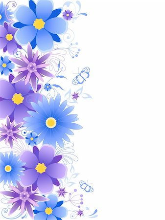 floral background  with blue flowers, leaves, ornament and butterflies Stock Photo - Budget Royalty-Free & Subscription, Code: 400-05724802