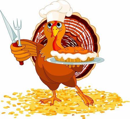 Thanksgiving turkey serving pumpkin pie Stock Photo - Budget Royalty-Free & Subscription, Code: 400-05726028