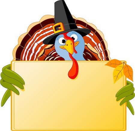 Cartoon turkey over blank sign Stock Photo - Budget Royalty-Free & Subscription, Code: 400-05726029