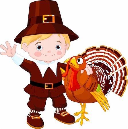 Illustration of cute pilgrim hug the turkey Stock Photo - Budget Royalty-Free & Subscription, Code: 400-05726030
