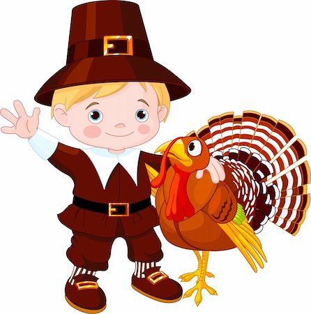 Illustration of cute pilgrim hug the turkey Stock Photo - Budget Royalty-Free & Subscription, Code: 400-05726030