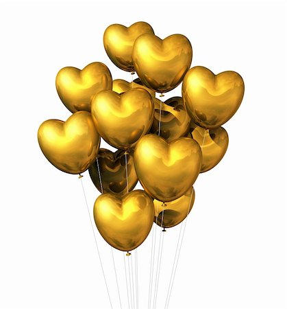 fly heart - gold heart shaped balloons isolated on white. valentine's day symbol Stock Photo - Budget Royalty-Free & Subscription, Code: 400-05727842