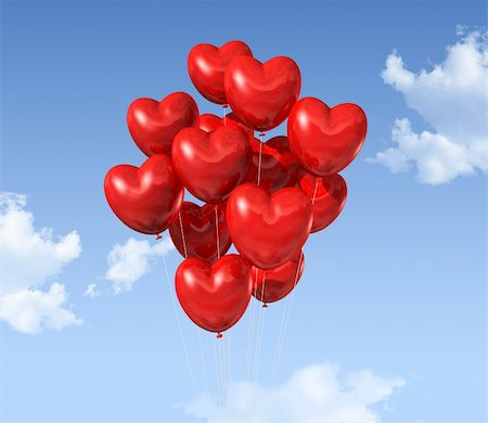 fly heart - red heart shaped balloons floating in the sky. valentine's day symbol Stock Photo - Budget Royalty-Free & Subscription, Code: 400-05727843