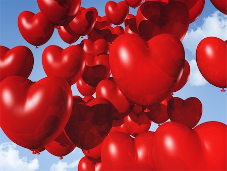 fly heart - red heart shaped balloons floating in the sky - red heart shaped balloons floating in the sky. valentine's day symbol Stock Photo - Budget Royalty-Free & Subscription, Code: 400-05727854