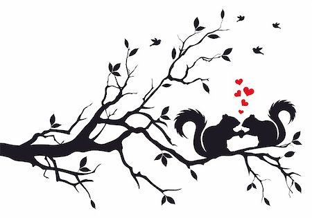 squirrels on tree branch, vector background Stock Photo - Budget Royalty-Free & Subscription, Code: 400-05728186