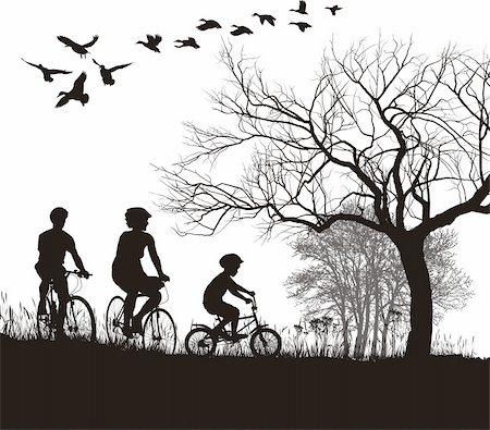 illustration of women, men and boys on bicycles in the countryside Stock Photo - Budget Royalty-Free & Subscription, Code: 400-05728181