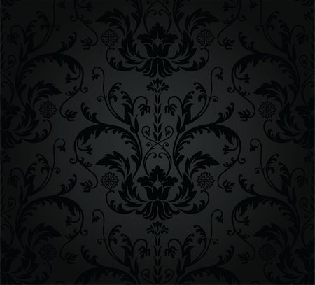 Charcoal seamless floral wallpaper. This image is a vector illustration. Stock Photo - Budget Royalty-Free & Subscription, Code: 400-05728227