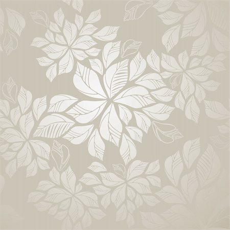 Seamless silver leaves wallpaper. This image is a vector illustration. Stock Photo - Budget Royalty-Free & Subscription, Code: 400-05728498