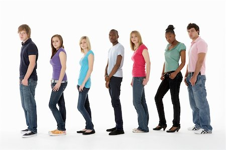 female white background full body - Group Of Teenage Friends In Studio Stock Photo - Budget Royalty-Free & Subscription, Code: 400-05729012