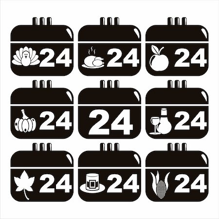 set of 9 black thanksgiving day calendar icons Stock Photo - Budget Royalty-Free & Subscription, Code: 400-05729120