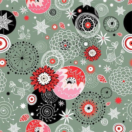 seamless bright floral pattern on a gray background Stock Photo - Budget Royalty-Free & Subscription, Code: 400-05729740