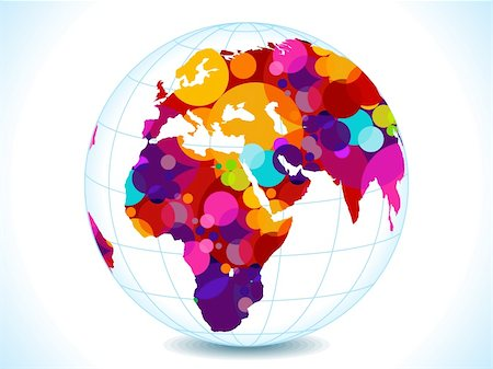 abstract colorful circles globe vector illustration Stock Photo - Budget Royalty-Free & Subscription, Code: 400-05720026