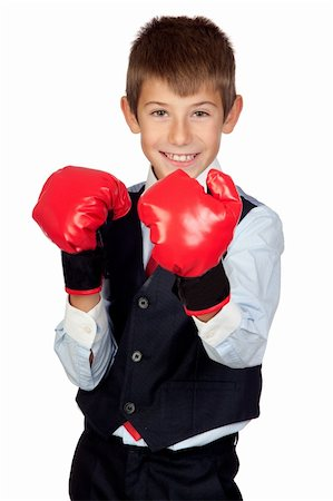 Businessman with boxing gloves isolated on a over white background Stock Photo - Budget Royalty-Free & Subscription, Code: 400-05720050