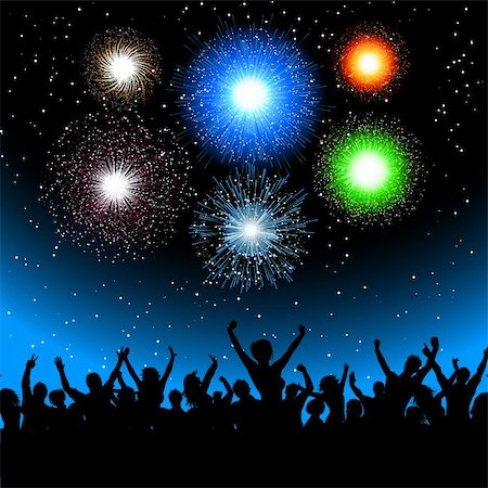 fireworks vector - Silhouette of a party crowd against a sky filled with  exploding fireworks Stock Photo - Budget Royalty-Free & Subscription, Code: 400-05720388