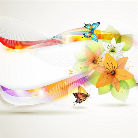 Colorful background with butterfly and flowers Stock Photo - Budget Royalty-Free & Subscription, Code: 400-05720649