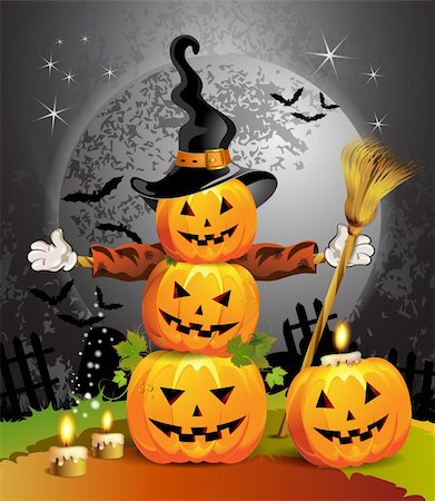 Halloween pumpkin with witches hat Stock Photo - Budget Royalty-Free & Subscription, Code: 400-05720687