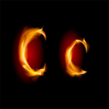 smoke magic abstract - Fiery font. Letter C. Illustration on black background Stock Photo - Budget Royalty-Free & Subscription, Code: 400-05720832