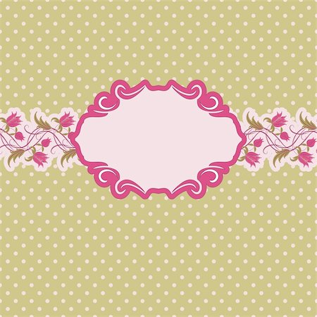 Template frame design for greeting card . Floral design. In vintage style. Stock Photo - Budget Royalty-Free & Subscription, Code: 400-05721172