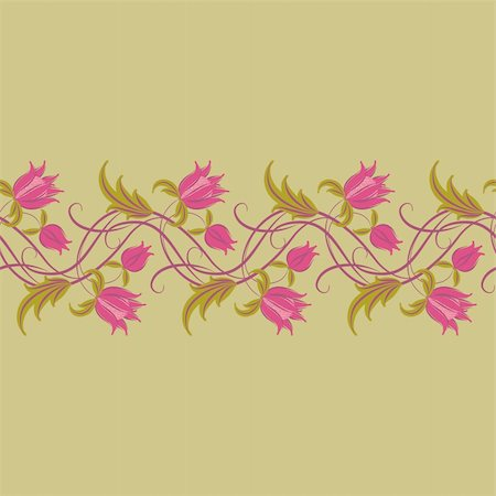 Flowers on a background. Floral design, in vintage style. Seamless pattern. Stock Photo - Budget Royalty-Free & Subscription, Code: 400-05721173
