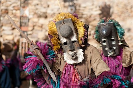 The Dogon are best known for their mythology, their mask dances, wooden sculpture and their architecture. Stock Photo - Budget Royalty-Free & Subscription, Code: 400-05721339