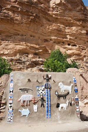 Representation on the wall of animals and Dogon masks, Mali (Africa). Stock Photo - Budget Royalty-Free & Subscription, Code: 400-05721340