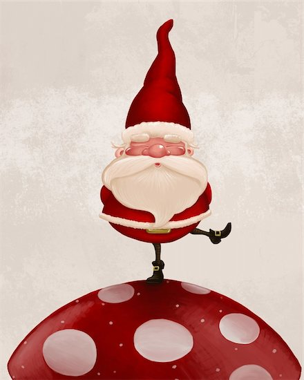 Little Santa Claus on big red fungus Stock Photo - Royalty-Free, Artist: jordygraph, Image code: 400-05721863
