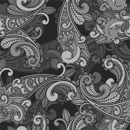vector seamless monochrome paisley pattern in greys Stock Photo - Budget Royalty-Free & Subscription, Code: 400-05723139
