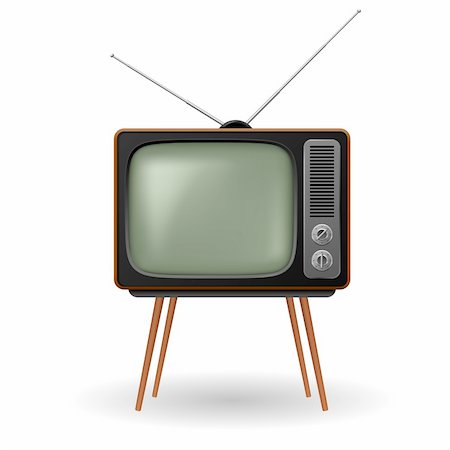pretty in black clipart - Old-fashioned retro TV. Illustration on white background Stock Photo - Budget Royalty-Free & Subscription, Code: 400-05723346