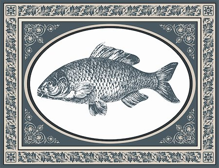 elakwasniewski (artist) - Fish carp vector illustration, antique graphic and stylized frame with corner ornaments Stock Photo - Budget Royalty-Free & Subscription, Code: 400-05734622