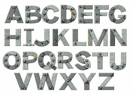 Alphabet - letters from rusty metal with rivets. Isolated over white Stock Photo - Budget Royalty-Free & Subscription, Code: 400-05735211