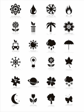 set of 21 black nature icons Stock Photo - Budget Royalty-Free & Subscription, Code: 400-05735492