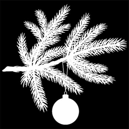 Silhouette of Pine tree branch with Christmas ball on black background. Vector Illustration Stock Photo - Budget Royalty-Free & Subscription, Code: 400-05736611