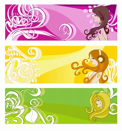 Bright banners with floral elements and women. Vector illustration Stock Photo - Budget Royalty-Free & Subscription, Code: 400-05736883