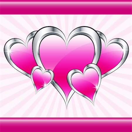 Pink love hearts symbolizing valentines day, mothers day or wedding anniversary on a starburst background. Copy space for text. Stock Photo - Budget Royalty-Free & Subscription, Code: 400-05736912