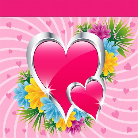 Pink love hearts and flowers symbolizing valentines day, mothers day or wedding anniversary. Copy space for text. Stock Photo - Budget Royalty-Free & Subscription, Code: 400-05736913