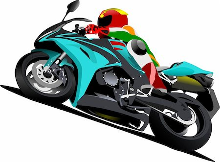 sports scooters - Biker on the road. Vector illustration Stock Photo - Budget Royalty-Free & Subscription, Code: 400-05737065