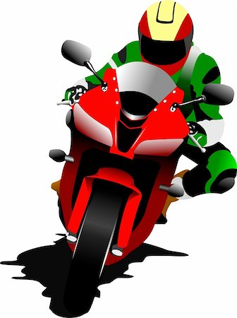 sports scooters - Biker on the road. Vector illustration Stock Photo - Budget Royalty-Free & Subscription, Code: 400-05737066