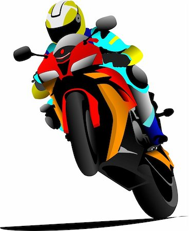 sports scooters - Biker on the road. Vector illustration Stock Photo - Budget Royalty-Free & Subscription, Code: 400-05737067