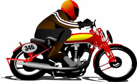 sports scooters - Biker on the road. Vector illustration Stock Photo - Budget Royalty-Free & Subscription, Code: 400-05737069